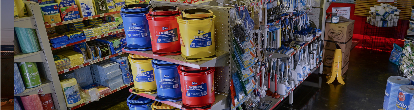 We stock a range of cleaning supplies,<br /> including brooms, mops, buckets, vacuums and carpet cleaners
